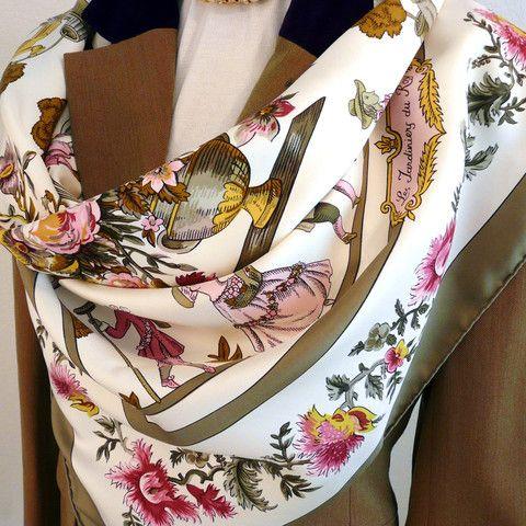 Authentic Vintage Hermes Silk Scarf Les Jardiniers du Roy Original Issue