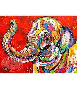 """Vrolijk Schilderij 120 x 90 cm schilderij """"De vrolijke olifant"""""""
