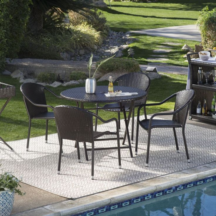 Patio Furniture Dining Set Outdoor Table And Chairs 5 Pc Sets Resin Wicker Stack #CoralCoast