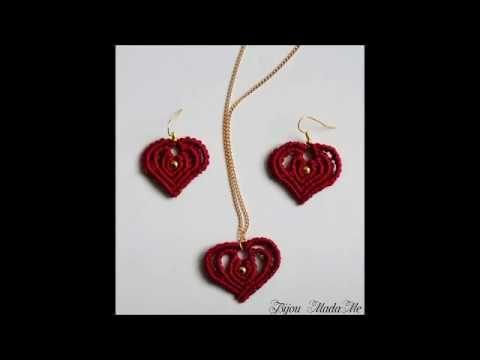 DIY Macrame tutorial. How to make easy macrame hearts for earrings for S...