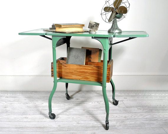 Vintage Industrial Metal Typing Table on Casters by havenvintage, $72.00