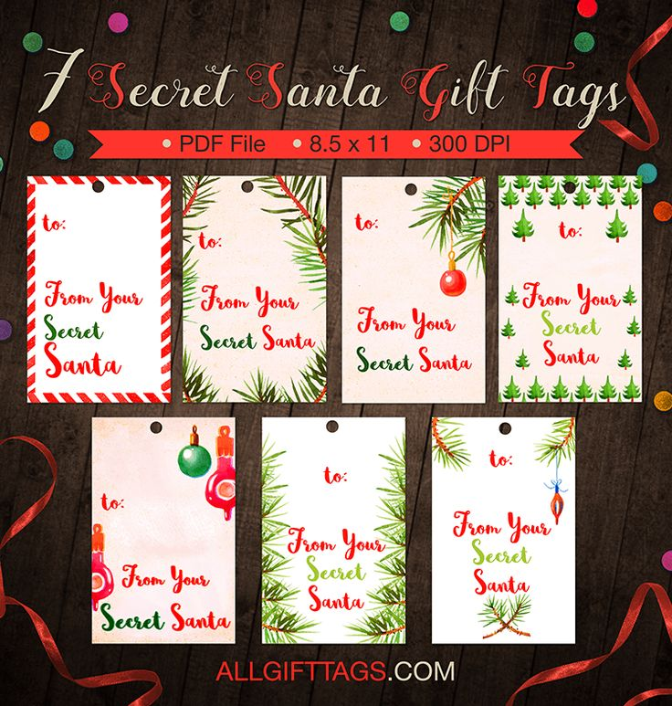 It's just an image of Nifty Secret Santa Tags Printable