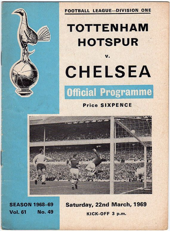 Vintage Football (soccer) Programme - Tottenham Hotspur v Chelsea, 1968/69…