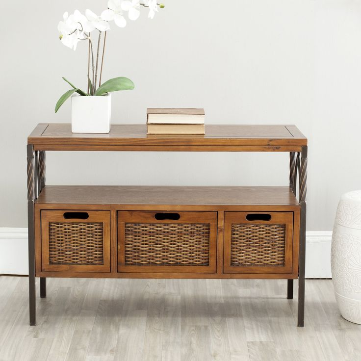 the dark walnut antique console table gets its good looks from the tasteful combination of wood