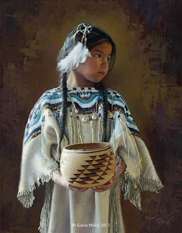 "native american children paintings | ... Oil on Linen - 18"" X 14"" -Native American Paintings by Karen Noles"
