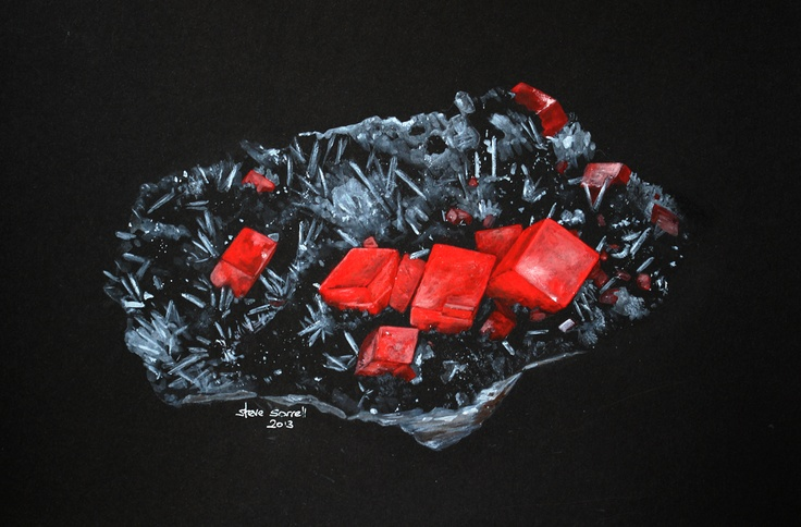 Steve Sorrell artwork: Rhodochrosite with quartz and tetrahedrite from the Sweet Home Mine, Pincushion II pocket, Alma, Colorado. Original specimen is 9.6x6.2x4.2 cm. Water-mixable oil on black card.