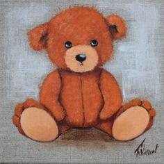 """Tableau peinture ourson:""""j'chuis pas content""""sur toile de lin"""