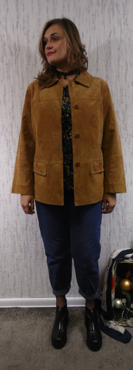 Vintage  lether seude oversized jacket with embroidery pockets. by SweetSpicyVintage on Etsy
