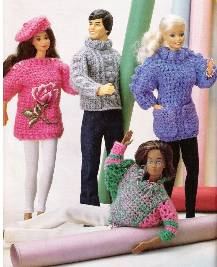 BARBIE & KEN or MOnSTeR HiGH or BratZ DoLLS- MaTCHING ARaN JUMPeR + BeRET CLoTHES Set 4-Dolls GifT 4PLY-Knitting Crochet PDF Instant Pattern by Crafting4Ever2013 on Etsy https://www.etsy.com/listing/180865229/barbie-ken-or-monster-high-or-bratz