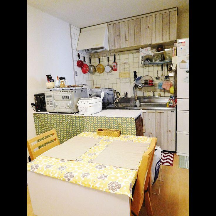 賃貸アパート/狭いダイニングキッチン…などのインテリア実例 - 2016-10 ... 女性で、3LDKの賃貸アパート/狭いダイニングキッチン/100均/木目
