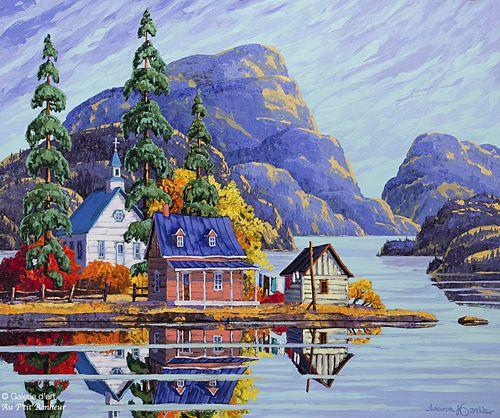 Vladimir Horik, 'Reflets d'octobre dans les Laurentides', 30'' x 36''   Galerie d'art - Au P'tit Bonheur - Art Gallery