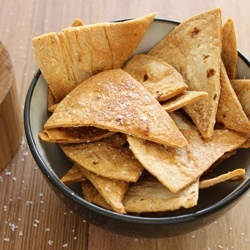 Baked Flour Tortilla Chips - just spray with veg. spray, season, cut with pizza cutter, bake until crispy. EXCELLENT!