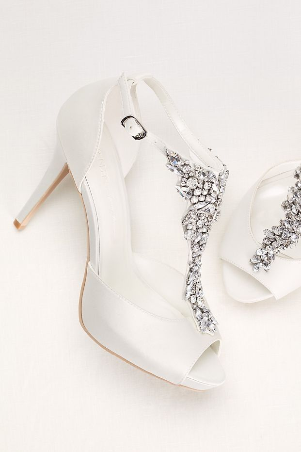 Crystal T-Strap Peep Toe High Heel by Wonder by Jenny Packham available at David's Bridal