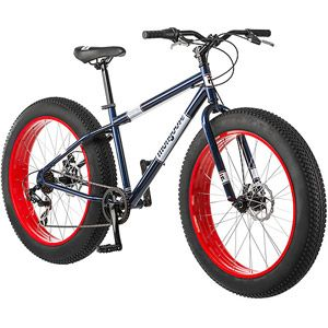"26"" Mongoose Dolomite Mens 7-speed Fat Tire Mountain Bike, Navy Blue/Red"