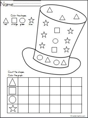 This is a Lincoln's hat shapes graph available on Madebyteachers.com  {freebie}.