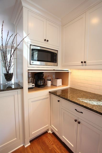 Appliance Garages | Apartment Therapy But when will there be an easily available microwave with RIGHT hinged door?!
