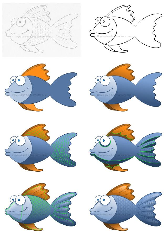 How to draw a fish filled with a simple texture #cartoonfish #howtodraw #drawinglesson #fish