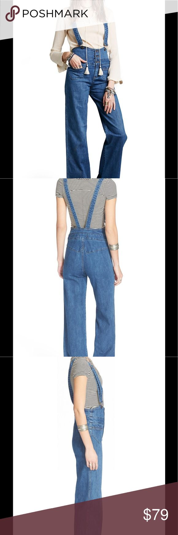 "🆕 Free People Penrose flare overalls About This Item   Details  Embrace the '70s trend in flare-leg overalls with a figure-defining high-rise waistline and throwback-inspired patch pockets.   Snug fit; will stretch with wear.   - 46"" center front length; 34"" inseam; 22"" leg opening  - Adjustable straps; button fly closure  - Front patch pockets  - 96% cotton, 3% polyester, 1% spandex  - Machine wash cold, tumble dry low  True to size. 26=2   Brand new with tag. Retail price $148.  Smoke…"