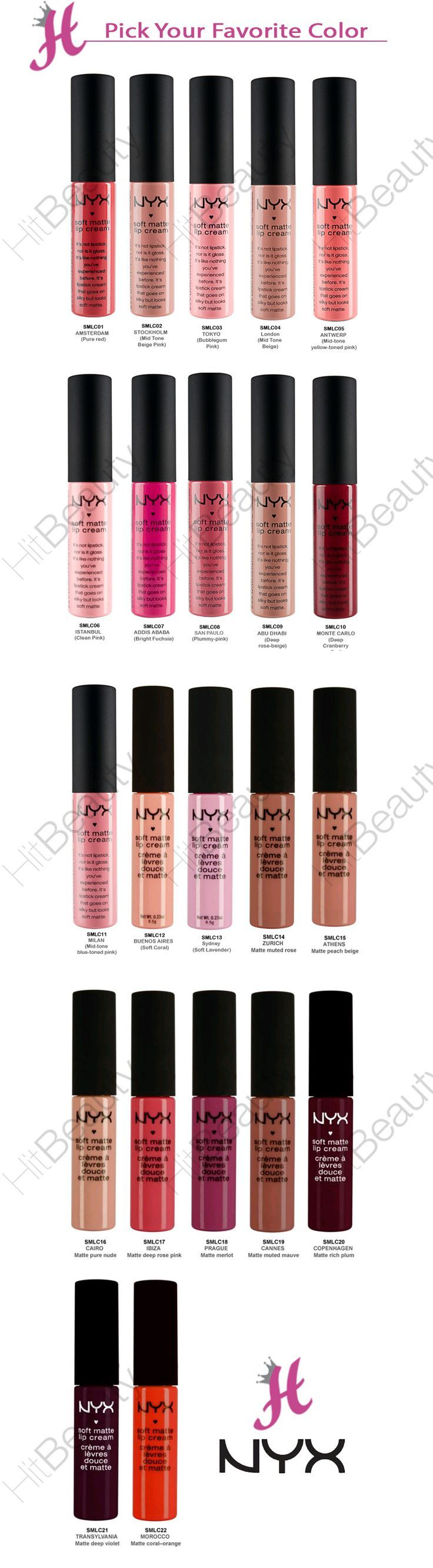 NYX Soft Matte Lip Cream - color names and numbers