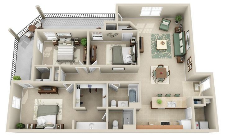Our Kingston (C1) floor plan hosts 1450 sq ft.  It has 3 bedrooms and 2 bathrooms.