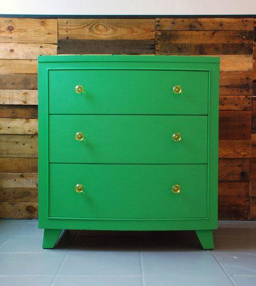 Retro dresser in Annie Sloan's Antibes Green Chalk Paint™ by Malenka Originals.