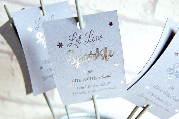 Let love sparkle tags Wedding tags wedding by KraziCrochet on Etsy