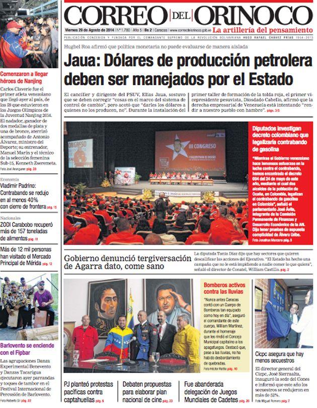 Portada Diario @CorreoOrinoco Viernes 28/08/2014 #Titulares #Noticias #Prensa #PrimeraPagina #DesayunoInformativo