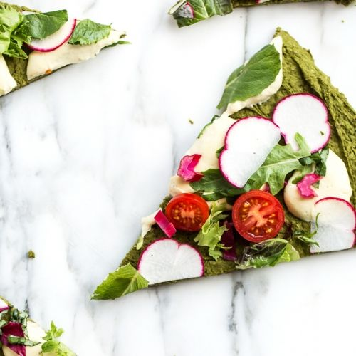 Green Split Pea + Spinach Pizza Crust | Packed with protein + gluten-free!