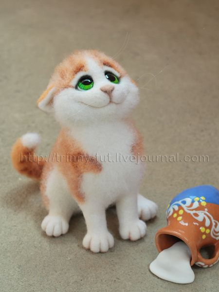 *NEEDLE FELT ART ~ red cat by -trinny-, via Flickr....O'...O'! ...ooOOPs!!