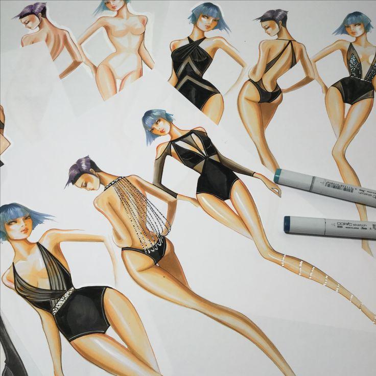 Design Swimwear inspired by Evening wear by Paul Keng at Otis College or Art & Design in Los Angeles. #otisfashion by @paulkengillustrator
