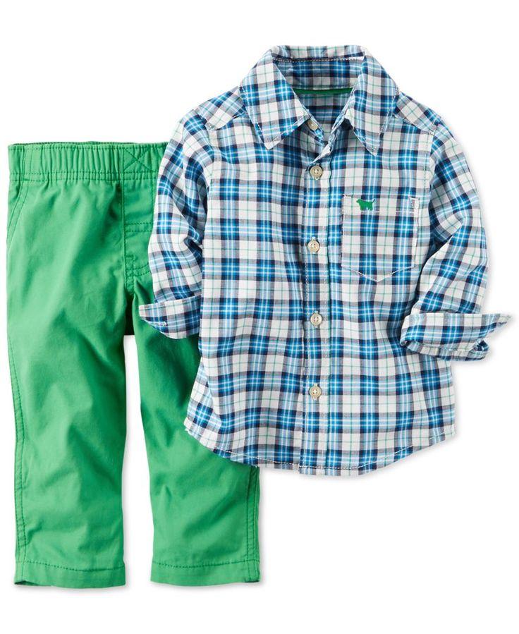 Carter's Baby Boys' 2-Piece Plaid Shirt & Green Pants Set