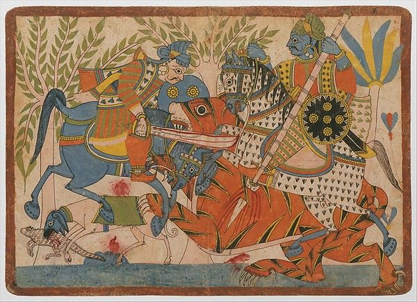 Chitrakarthi  style. tinerant storytellers of the Chitrakarthi caste produced and used a series of similar paintings to recount the Harishchandra epic. The bold graphic quality allowed an assembled audience to readily read these narrative pictures. Harishchandra and His Minister Killing a Tiger: a Harishchandra Series India (Maharashtra and northern Karnataka). ca. 1850.Opaque watercolor and ink on paper. 12 3/8 x 17 3/8 in.  I