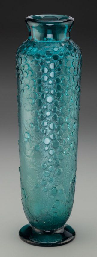 Daum Acid-Etched Art Deco Teal Glass Vase Circa 1930