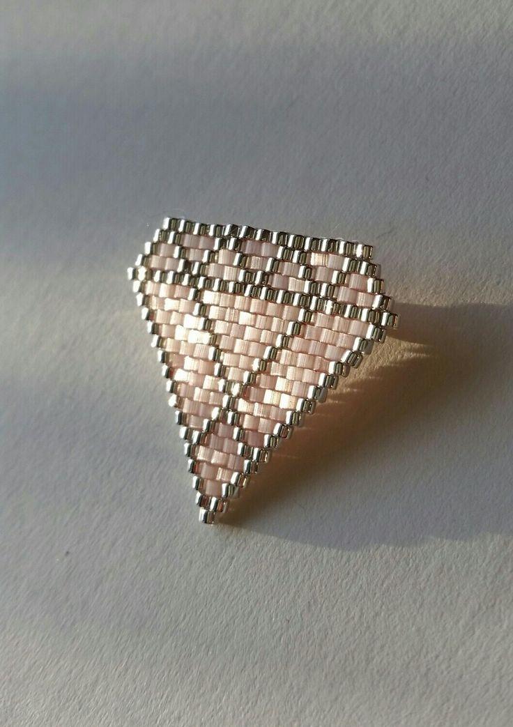 Broche diamant - perles miyuki - tissage brick stitch