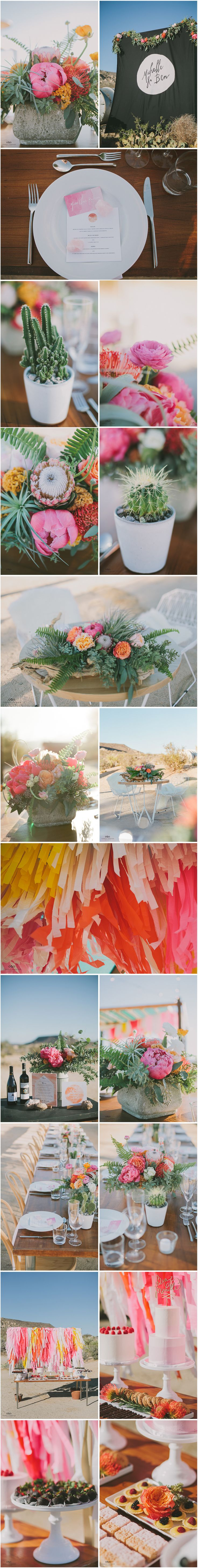 Beautiful table flowers (and cacti), and a fun, colorful streamer backdrop for the dessert table.