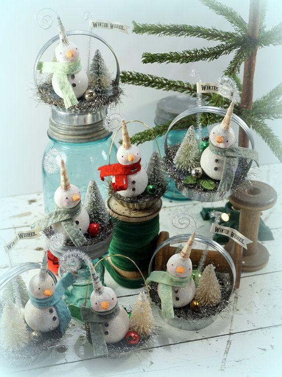 Snowman // Christmas Decor // Folk Art // by CatandFiddlefolk