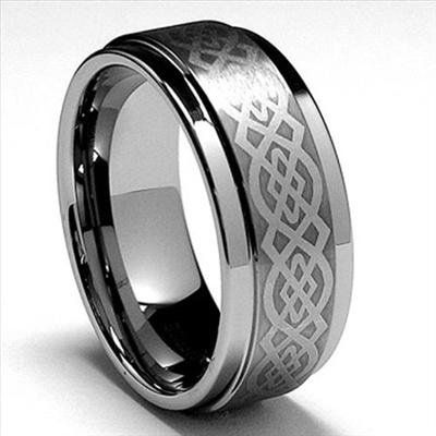 9mm Mens Tungsten Carbide Celtic Wedding Band Ring