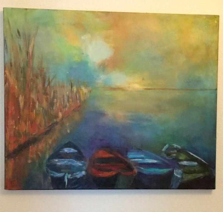 Kunst aan de muur, geschilderd door Coby Bouten.....