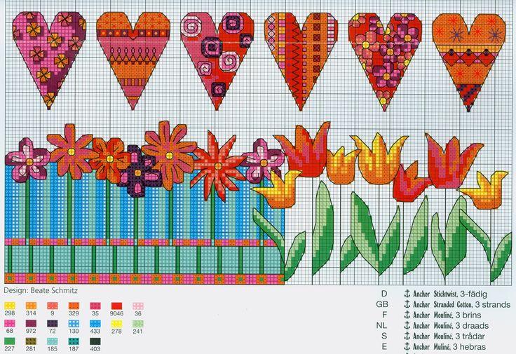 Bright Borders (Part 2) free cross stitch pattern from www.coatscrafts.pl