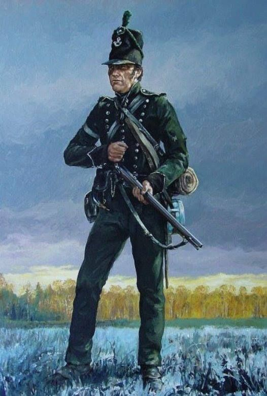 """""""Far in advance"""" - The distinctive 'Green Jacket' of England's - 95th Rifles (C. Hook)"""