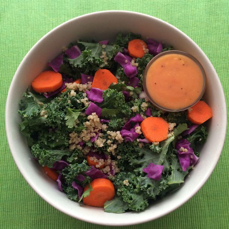 Kale Salad with Papaya Vinaigrette #kale #papaya #eatseasonably
