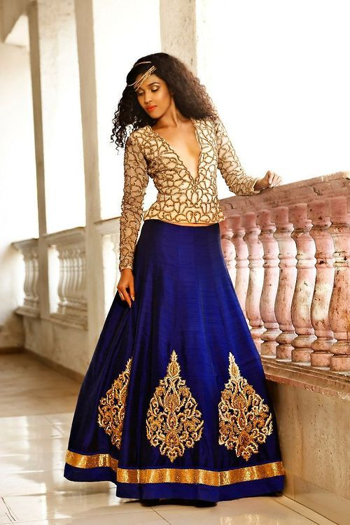 peacock blue lehenga and blouse