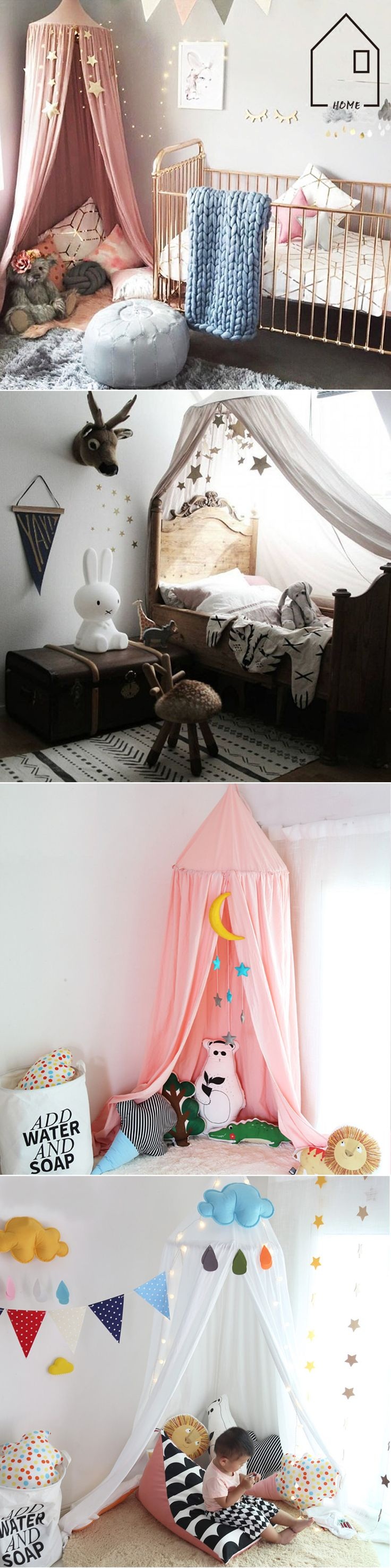 US$46.66 Elegant Round Cotton Bed Canopy Children's Bedroom Anti-mosquito Curtain Hung Dome Home Furniture
