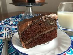 This dense and super-moist chocolate cake recipe is made all the better with a generous layer of chocolate cream cheese frosting.