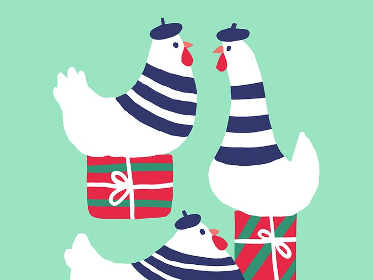 3 French Hens by Carolina Buzio