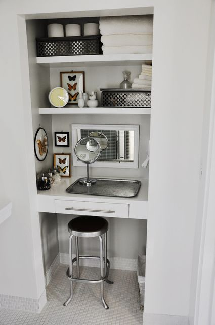Bathroom Closet Turned Small Vanity Or Linen Closet Into Kids Craft Are