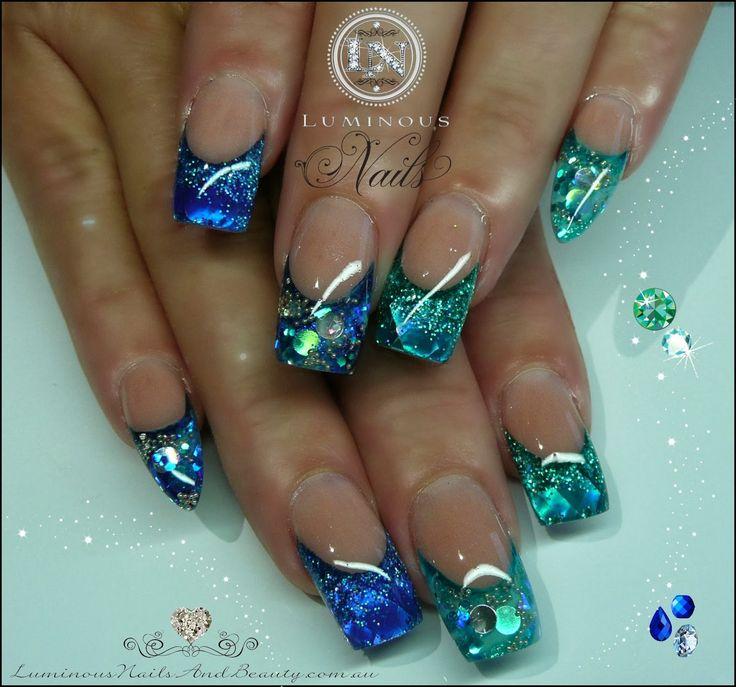 Aquamarine & Sapphire Gems Nails!.... Sculptured Acrylic with Artistic Blue & Teal Pearl Strips, Teal & Twilight Glitter, Mani Q Blue 104...