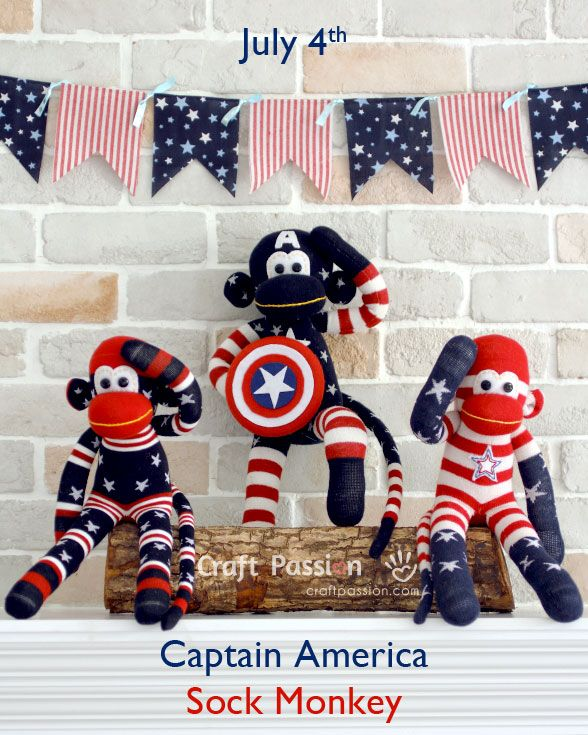 """Captain America Sock Monkey - """"So these are your only 2 choices: a lab rat or a preforming monkey"""""""