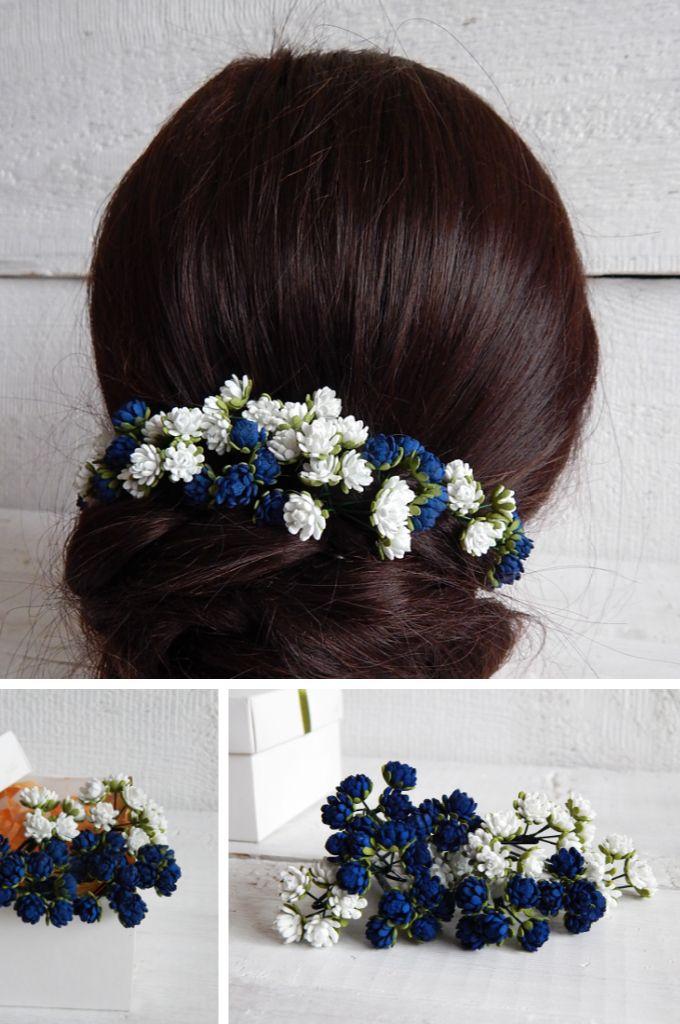 Floral hair stick set Navy blue blush pink bridesmaid hair piece Wedding Navy pink flowers set hair pins Flower girl hair accessories
