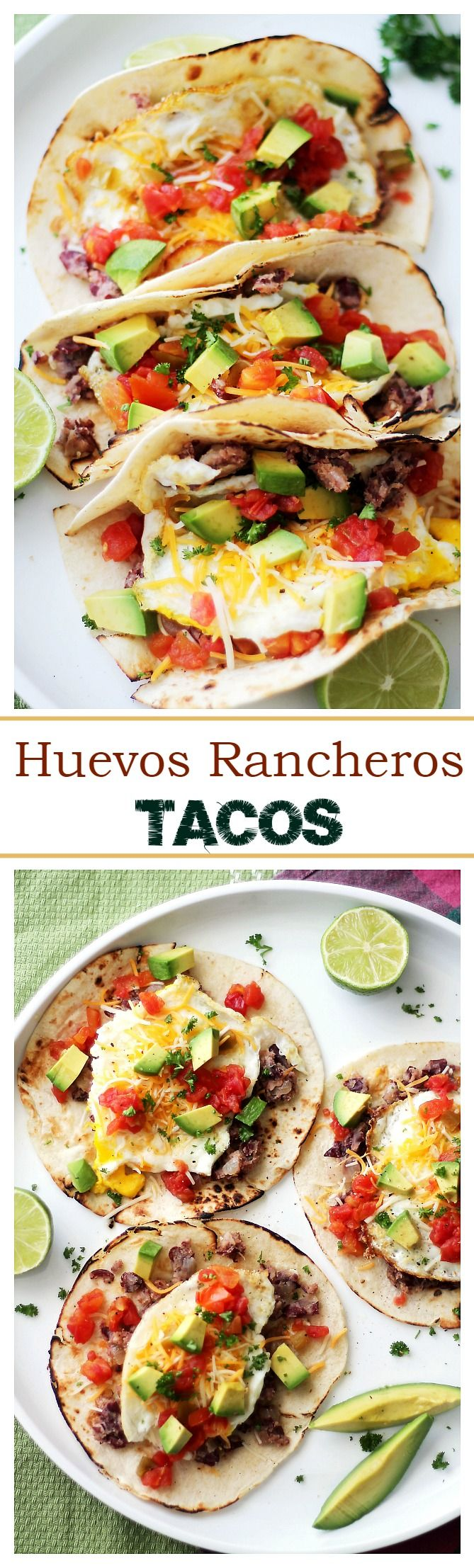 Huevos Rancheros Tacos - Soft tortillas stuffed with homemade refried beans, eggs, green chilies, tomatoes, cheese and diced avocados. Simple and incredibly delicious!